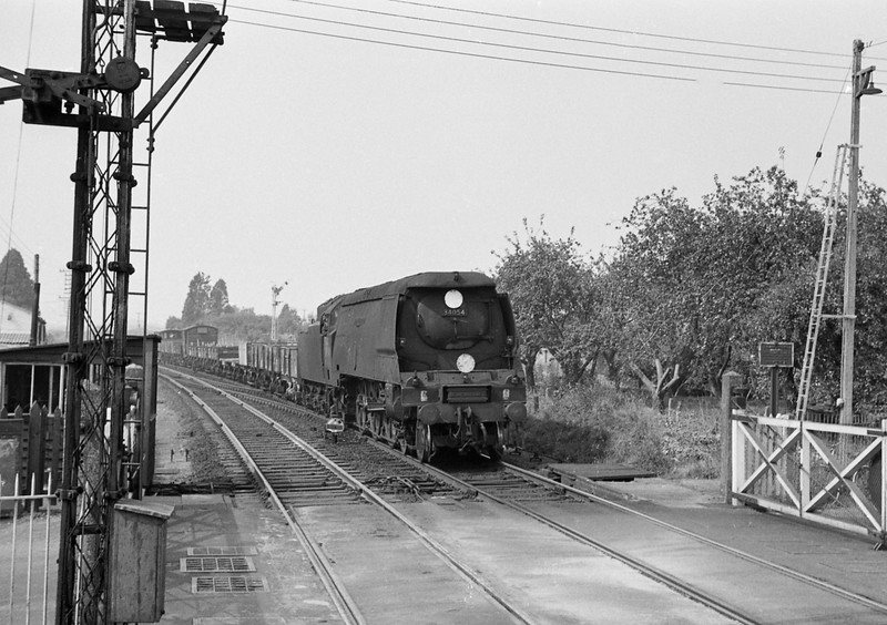 34054 Lord Beaverbrook, up freight, Sidmouth Junction, September 5, 1964, shortly before withdrawal.