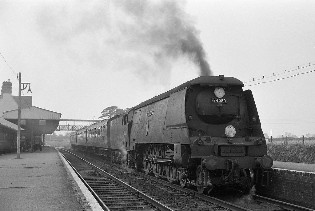 34080 74 Squadron, up semi-fast, Sidmouth Junction, September 5, 1964.