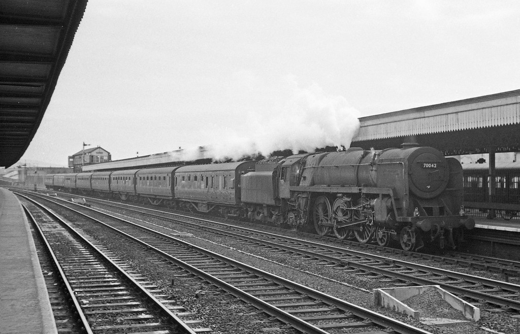 70042 Lord Roberts, up passenger, Rhyl, August 5, 1965. Nameplates removed.