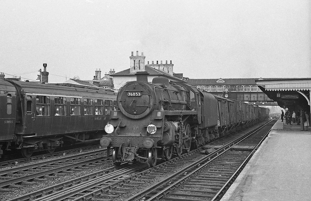 76053, down freight, Eastleigh, August 18, 1966.