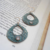 "Large and Beautiful Bronze Ornate Teardrop Earrings with Turquoise Patina and Sparkley Clear CZ<br /> <br /> ~ Made by Alasha Lantinga<br />  <a href=""http://www.facebook.com/saffirejewelry"">http://www.facebook.com/saffirejewelry</a><br />  <a href=""http://www.alashalantinga.com"">http://www.alashalantinga.com</a>"