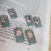 """Funky Handmade Bronze Earrings with Turquoise Patina and Unique Rectangular Gemstones, including Amethyst and Rose Quartz<br /> <br /> ~ Made by Alasha Lantinga<br />  <a href=""""http://www.facebook.com/saffirejewelry"""">http://www.facebook.com/saffirejewelry</a><br />  <a href=""""http://www.alashalantinga.com"""">http://www.alashalantinga.com</a>"""