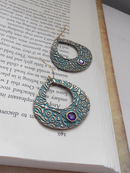 """Large Solid Bronze Teardrop Earrings with Turquoise Patina and Amethyst Cubic Zirconian<br /> <br /> ~ Made by Alasha Lantinga<br />  <a href=""""http://www.facebook.com/saffirejewelry"""">http://www.facebook.com/saffirejewelry</a><br />  <a href=""""http://www.alashalantinga.com"""">http://www.alashalantinga.com</a>"""