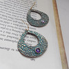 "Large Solid Bronze Teardrop Earrings with Turquoise Patina and Amethyst Cubic Zirconian<br /> <br /> ~ Made by Alasha Lantinga<br />  <a href=""http://www.facebook.com/saffirejewelry"">http://www.facebook.com/saffirejewelry</a><br />  <a href=""http://www.alashalantinga.com"">http://www.alashalantinga.com</a>"