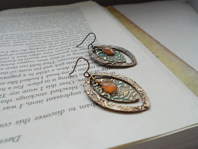 "Double Layer Bronze Marquise with Patina and Gemstone Earrings<br /> <br /> ~ Made by Alasha Lantinga<br />  <a href=""http://www.facebook.com/saffirejewelry"">http://www.facebook.com/saffirejewelry</a><br />  <a href=""http://www.alashalantinga.com"">http://www.alashalantinga.com</a>"