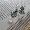Double Floral Bronze Square Earrings with Champagne Color Chalcedony Stone.  These are one of my most popular earrings that can be worn almost everyday.