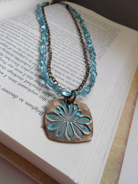"""Beautiful Large Bronze Waterlily or Lotus Flower Square Pendant with Smooth Apatite Gemstone Chain and Brass Chain Necklace<br /> <br /> ~ Made by Alasha Lantinga<br />  <a href=""""http://www.facebook.com/saffirejewelry"""">http://www.facebook.com/saffirejewelry</a><br />  <a href=""""http://www.alashalantinga.com"""">http://www.alashalantinga.com</a>"""