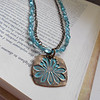 "Beautiful Large Bronze Waterlily or Lotus Flower Square Pendant with Smooth Apatite Gemstone Chain and Brass Chain Necklace<br /> <br /> ~ Made by Alasha Lantinga<br />  <a href=""http://www.facebook.com/saffirejewelry"">http://www.facebook.com/saffirejewelry</a><br />  <a href=""http://www.alashalantinga.com"">http://www.alashalantinga.com</a>"