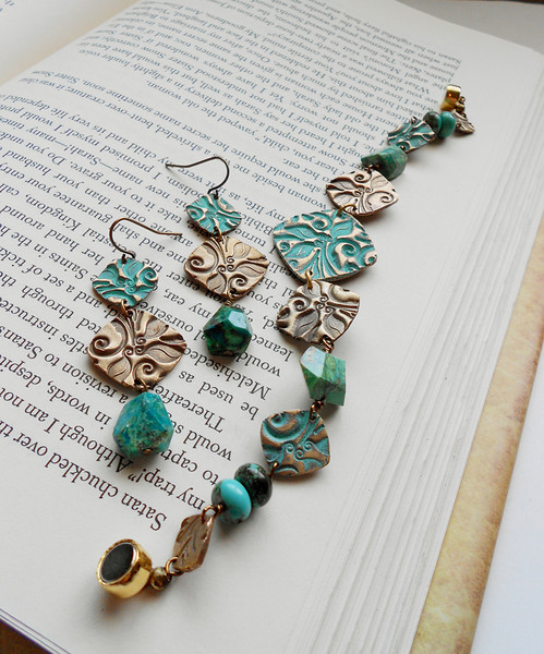 """Lovely Square Floral Bronze Earrings and Bracelet with Beautiful Chrysocolla gemstone<br /> <br /> ~ Made by Alasha Lantinga<br />  <a href=""""http://www.facebook.com/saffirejewelry"""">http://www.facebook.com/saffirejewelry</a><br />  <a href=""""http://www.alashalantinga.com"""">http://www.alashalantinga.com</a>"""