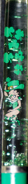 Back: clear<br /> Front: Betty Boop in St. Patrick's outfit on caldron  <br /> Floater: green glitter<br /> Style: Classic<br /> Color: green<br /> Cost: $9.00<br /> Category: Cartoon, Betty Boop