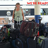 Mary and part of the Reno group's luggage, waiting to board the boat on Saturday afternoon.
