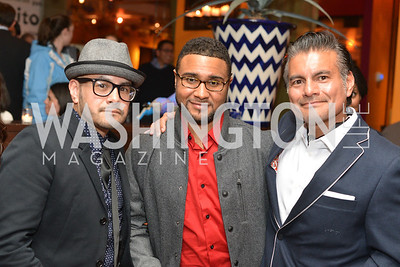 Carlos Rodriguez, Devin Gladden, Tony Rodriguez , Cesar Chavez cast party at Oyamel. Diego Luna, America Ferrera and Rosario Dawson.  March 18, 2014. Photo by Ben Droz