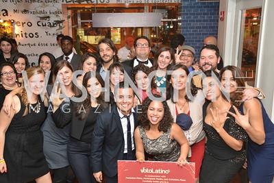 Cesar Chavez cast party at Oyamel. Diego Luna, America Ferrera and Rosario Dawson.  March 18, 2014. Photo by Ben Droz
