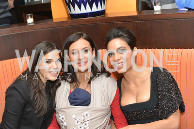 America Ferrera,Maria Teresa Kumar, Rosario Dawson, Cesar Chavez cast party at Oyamel. Diego Luna, America Ferrera and Rosario Dawson.  March 18, 2014. Photo by Ben Droz
