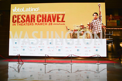Cesar Chavez cast party at Oyamel. Diego Luna, America Ferrera and Rosario Dawson.  March 18, 2014. Photo by Ben Droz