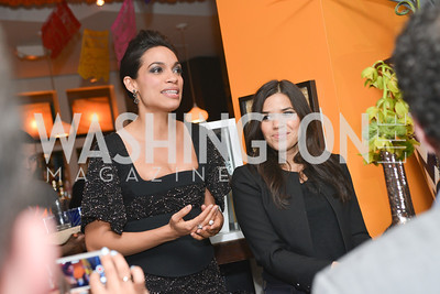 America Ferrera, Rosario Dawson, Cesar Chavez cast party at Oyamel. Diego Luna, America Ferrera and Rosario Dawson.  March 18, 2014. Photo by Ben Droz