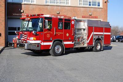 Engine 5 is a 2003 Pierce Quantum, 1000/500, sn- 13997.  ex Engine 7.
