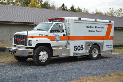Ex- Squad 505 from the Western Albemarle Rescue Squad (WARS) was replaced in 2016 and photographed for sale in October of 2016.  It is a 1993 GMC TopKick with a 1994 Hackney body.