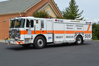 Squad 505 for WARS is this unusual 2015 Seagrave XC00CS with a 2016 SVI squad body.  S-505 is equipped with the EZTrac hydraulic AWD to aide in inclement weather.  Other features of R-505 include a CAF's system, air cascade system, and a light tower.  Carrying Seagrave s/n 74363 and SVI s/n 926,  the Seagrave has a two man cab and a lower height in order to get into the station.