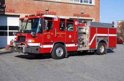 Several Quantum engines in service at Charlottesville.  Engine 3 is a 2000 Quantum, 1000/500, sn- 11486.  ex Charlottesville E-7, E-6, E-1, E-2.