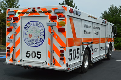 A rear view of the 2015 Seagrave/2016 SVI.  The air cascade system is located behind the large roll up compartment door on the rear.