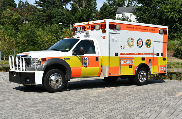 """CARS 147 is a 2005 Ford F450/AEV.    CARS adopted the """"German Red"""" color in 2000, not long after CARS sent several members to Germany to observe paramedics."""