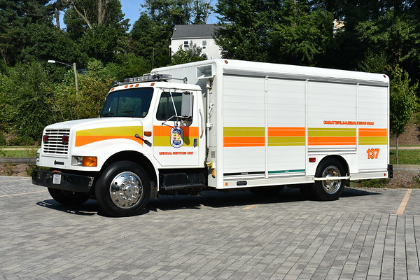 CARS  - Medical Services Unit is an ex beverage truck modified for CARS.  It is a 1992 International 4700/Hackney that was refurbished in 2003.  At one time, it was painted white with orange stripes.  It is used for MCI/EMS operations.