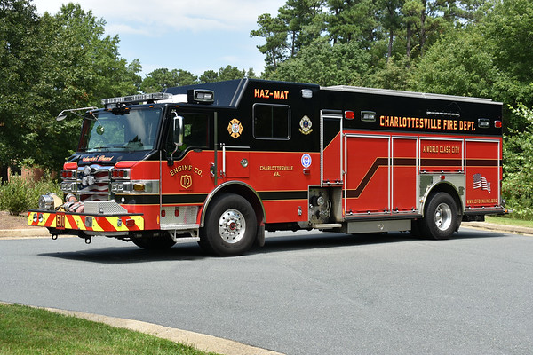 Charlottesville, Virginia Engine 10 is this unique 2012 Pierce Velocity PUC equipped with a 1500/500/30 and Pierce job number 25868.    Note - three door unit that runs as a HAZMAT and engine.