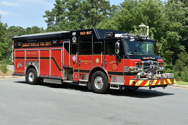 Officer side of Engine 10 from Charlottesville.  The cab area contains a HAZMAT work area.