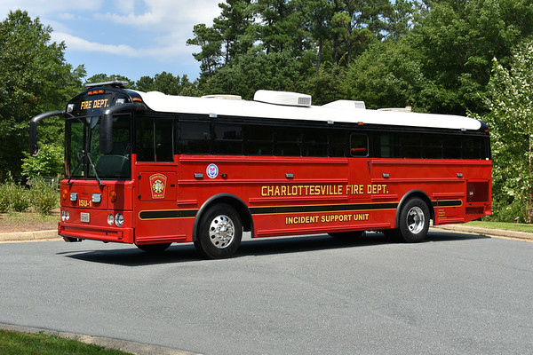Charlottesville, Virginia Incident Support Unit is a 2005/2007 Thomas Built modified by the Fire Department.  It is an old Charlottesville City school bus.