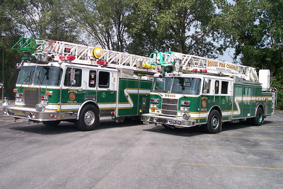 One of my first photographs with a digital camera taken in 2004 - Ladder 2 (left) and Truck 2 (right).