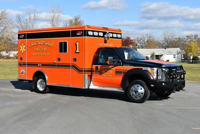 An officer side view of Medic 1, a 2016 Ford F550 4x4/Horton for the Friendship Fire Company of Winchester, VA.