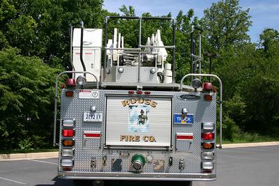 The rear of Truck 2, a 1998 Pierce Dash 75'.