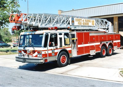 Truck 10 prior to the refurb, a 1984 E-One Hurricane, 135', sn- 3520, Shop #7012.