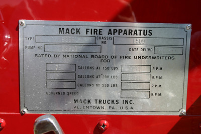 Plate found on the '65 Mack.