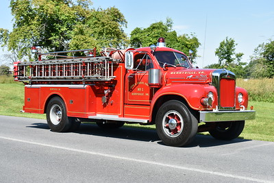Berryville, Virginia - John H. Enders Fire Company - Clarke County. 1965 Mack B85F delivered on 1/28/1966.  750/600 with serial number 1509.  It received a 1996 rehab by JR's Auto Body.  Photographed in June 0f 2017.