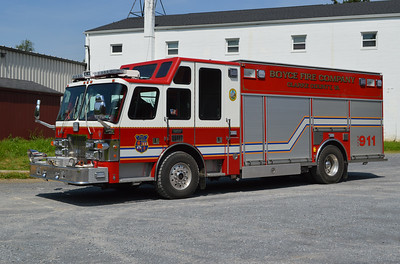 """In 2016, Boyce Squad 4 received a complete """"lighting"""" upgrade including a new light bar and LED lights around the entire truck.  Squad 4 is a 1997 Simon-Duplex/Saulsbury 250/250 with Saulsbury serial number 295141.  It originally was delivered to Goshen, PA and Boyce received it in 2009."""