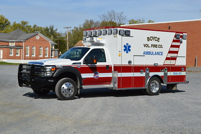 Photographed shortly before going into service in October of 2016 is Boyce's Ambulance 4-2, a 2015 Ford F450/2016 Braun.