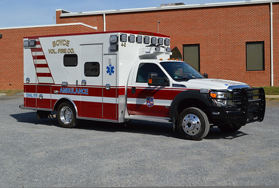 """An officer side view of Boyce's """"4-2"""", a 2015 Ford F450/2016 Braun."""