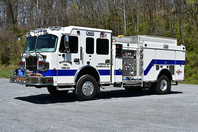 Blue Ridge Volunteer Fire Company in Clarke County, Virginia.  Wagon 8 is this tall 2016 Spartan Metro Star 4x4 with a 2017 Smeal body.  It is equipped with a 1500/750/30 CAF's foam system.  S.O. 4609.  It replaced old Wagon 8, a 1990 Pierce Dash D-800 4x4 which was sold to Boles Fire District in Labadie, Missouri.