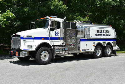 Tanker 8 for Blue Ridge was delivered in June of 2017 and is a 2016 Kenworth T800/2017 US Tanker.  It is equipped with a 750/3000 and has US Tanker serial number 160000.  It replaced the department's 1996 International 2674/S&S 2500 gallon tanker.