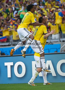 Colombian players celebrate