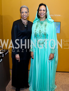 Johnetta B. Cole, Oman Amb. Hunaina Al-Mughairy. Photo by Tony Powell. From Oman to East Africa Dinner. Museum of African Art. April 16, 2014