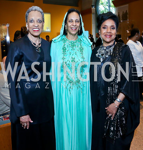 Johnetta B. Cole, Oman Amb. Hunaina Al-Mughairy, Phylicia Rashad. Photo by Tony Powell. From Oman to East Africa Dinner. Museum of African Art. April 16, 2014