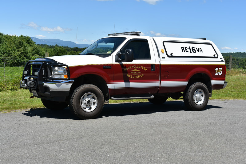 Reva, Virginia Utility 16 is a 2004 Ford F350.  This truck was previously Reva's brush truck and had a skid mount in the back bed.
