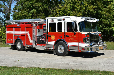 Culpeper, Virginia Engine 1, a photographed in October of 2017 one day prior to the delivery of the Culpeper County VFD.  Engine 1 is a 2017 Spartan Gladiator/Smeal with a 1750/850/40 and s/n 715090.  It replaced a 1997 Seagrave, which was sold to Chester Gap, VA.