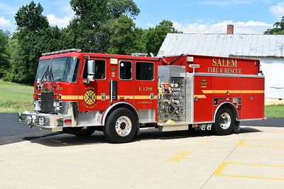 Salem's Engine 8 was purchased in February of 2017 from the Lansdowne, Maryland (Baltimore County) VFD.  It became available when Lansdowne and Violetville VFD's combined.  Lansdowne operated two of these 2006 KME Renegade's equipped with 1500/1000.  This was ex- Engine 362 from Lansdowne.  KME serial number GSO 6473.