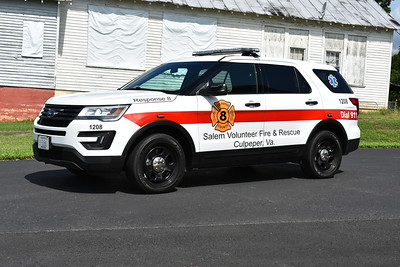 Response 8 from the Salem Volunteer Fire & Rescue in Culpeper County, Virginia is this 2017 Ford Interceptor Utility.  Photographed in July of 2017.