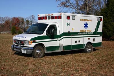 Ambulance 6-1 is a 2002 Ford E-350/AEV Trauma Hawk.