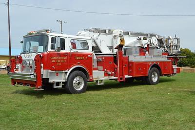 Culpeper, VA old Truck 1, a 1974 Mack CF/1988 rehab 75'.  Originally FDNY L-17, L-70 (MT7401).  Sold to Culpeper.  Sold to business in Winchester, Virginia in 2014.
